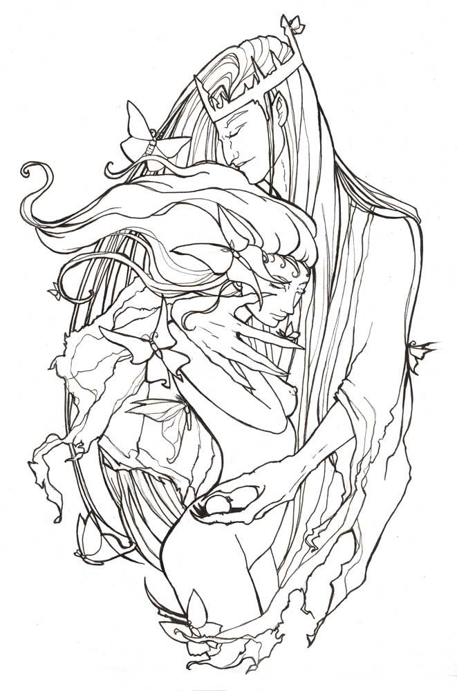 Persephone and Hades-Lineart by AngelaSasser on deviantART | Dessin ...