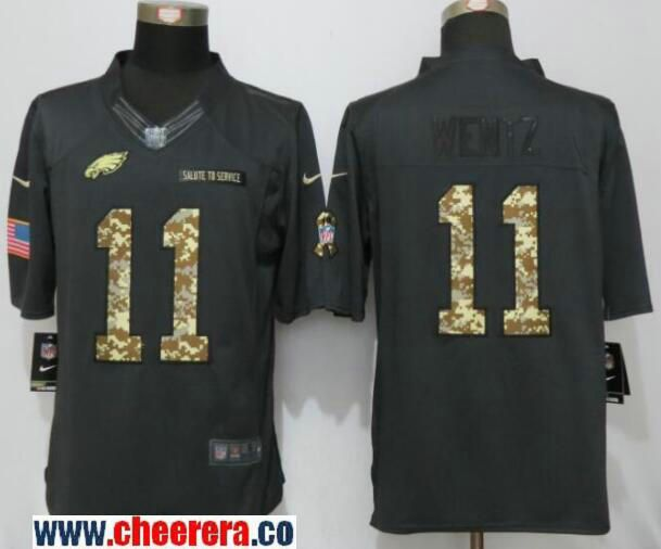 mens philadelphia eagles carson wentz black anthracite 2016 salute to service stitched nfl nike limited jersey