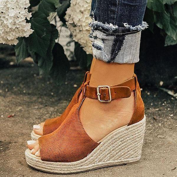 6881f63978eed Women Chic Espadrille Wedges Adjustable Buckle Sandals in 2019 ...