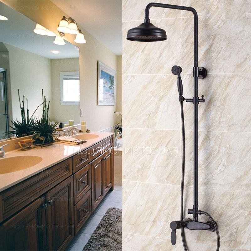 Retro Black Oil Rubbed Bronze Bathroom Exposed Shower Faucets Retro ...