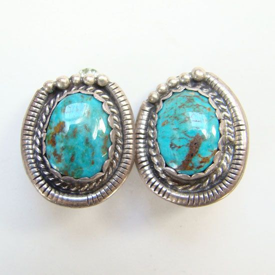 Navajo Turquoise Sterling Silver Clip Earrings Les Baker Shop Mark Native American Indian Jewelry by redroselady on Etsy