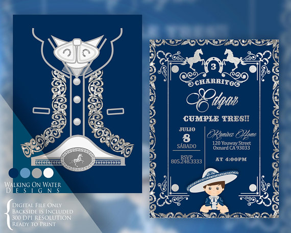 Charro Invitation In Navy Blue And Silver Charro Outfit