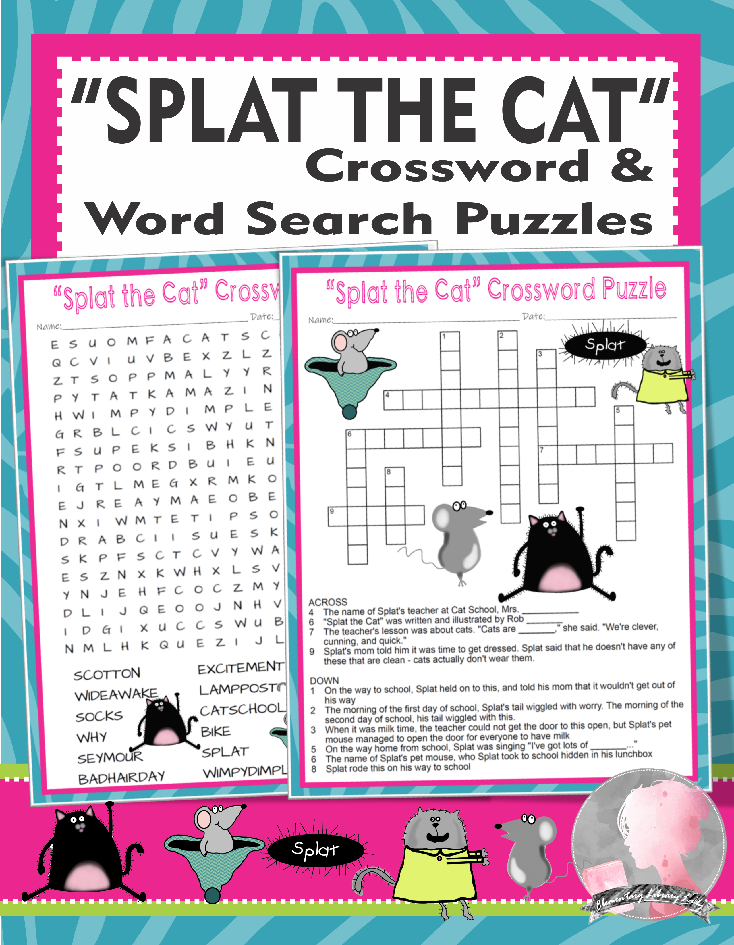 Splat The Cat Activities Rob Scotton Crossword Puzzle Word Search Literature Activities Early Childhood Literacy Word Bank