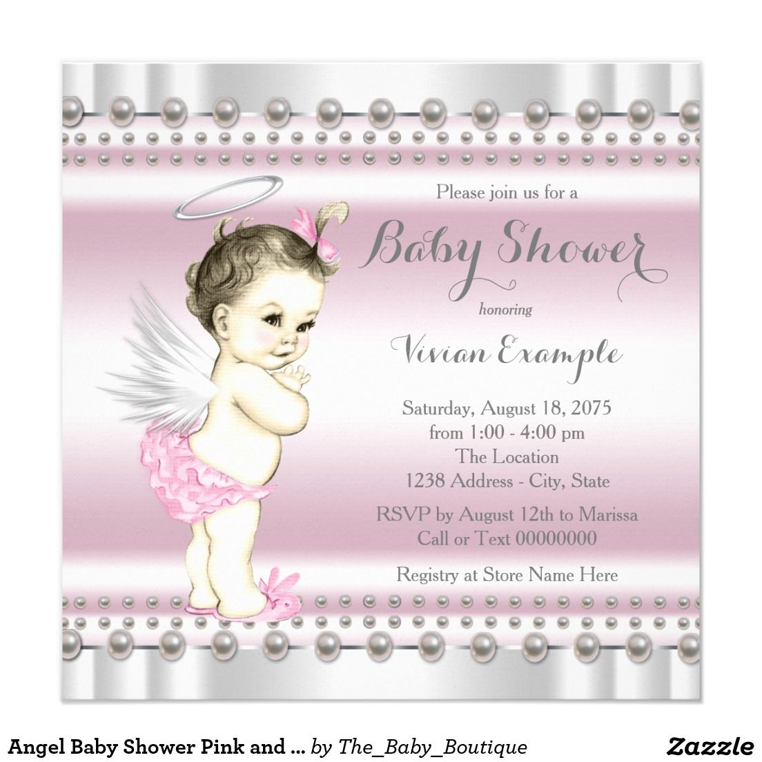 Angel Baby Shower Pink and Gray Invitation | Girl Baby Shower ...