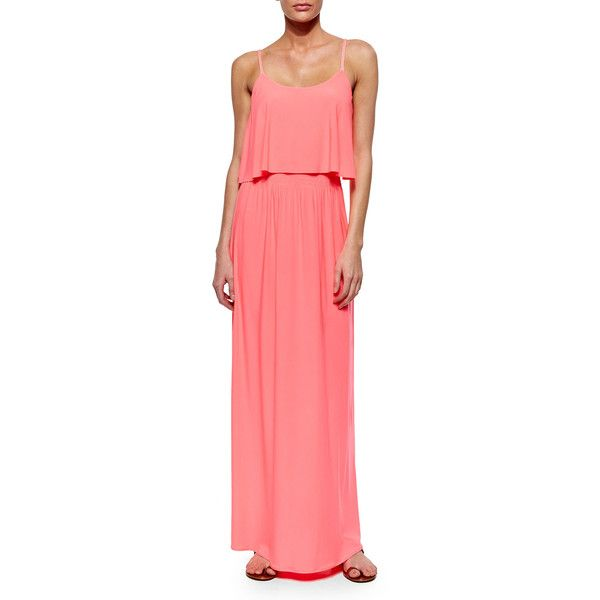 T-Bags Flowy-Bodice Maxi Dress ($99) ❤ liked on Polyvore featuring dresses, pink, sleeveless maxi dress, scoop neck maxi dress, scoop neck dress, pink dress and pink sleeveless dress