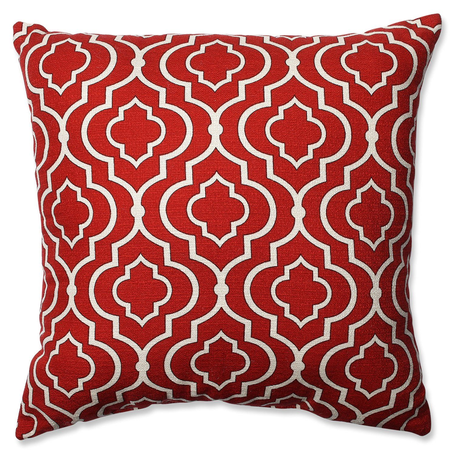 Red and White Pattern Throw Pillow | Neutral Master Bedroom Blog Post | FurnishingFrugally.com