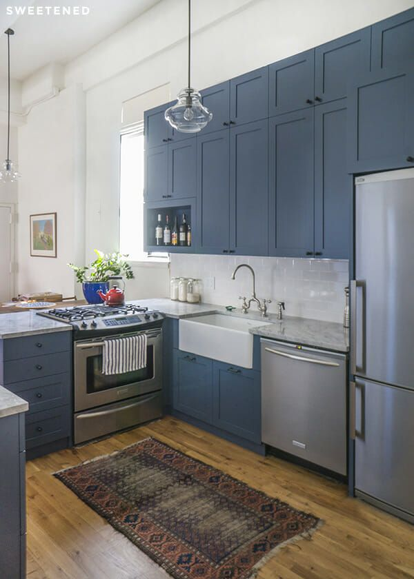 Claire & Mike's Park Slope Kitchen Renovation -- Sweetened! #bluegreykitchens