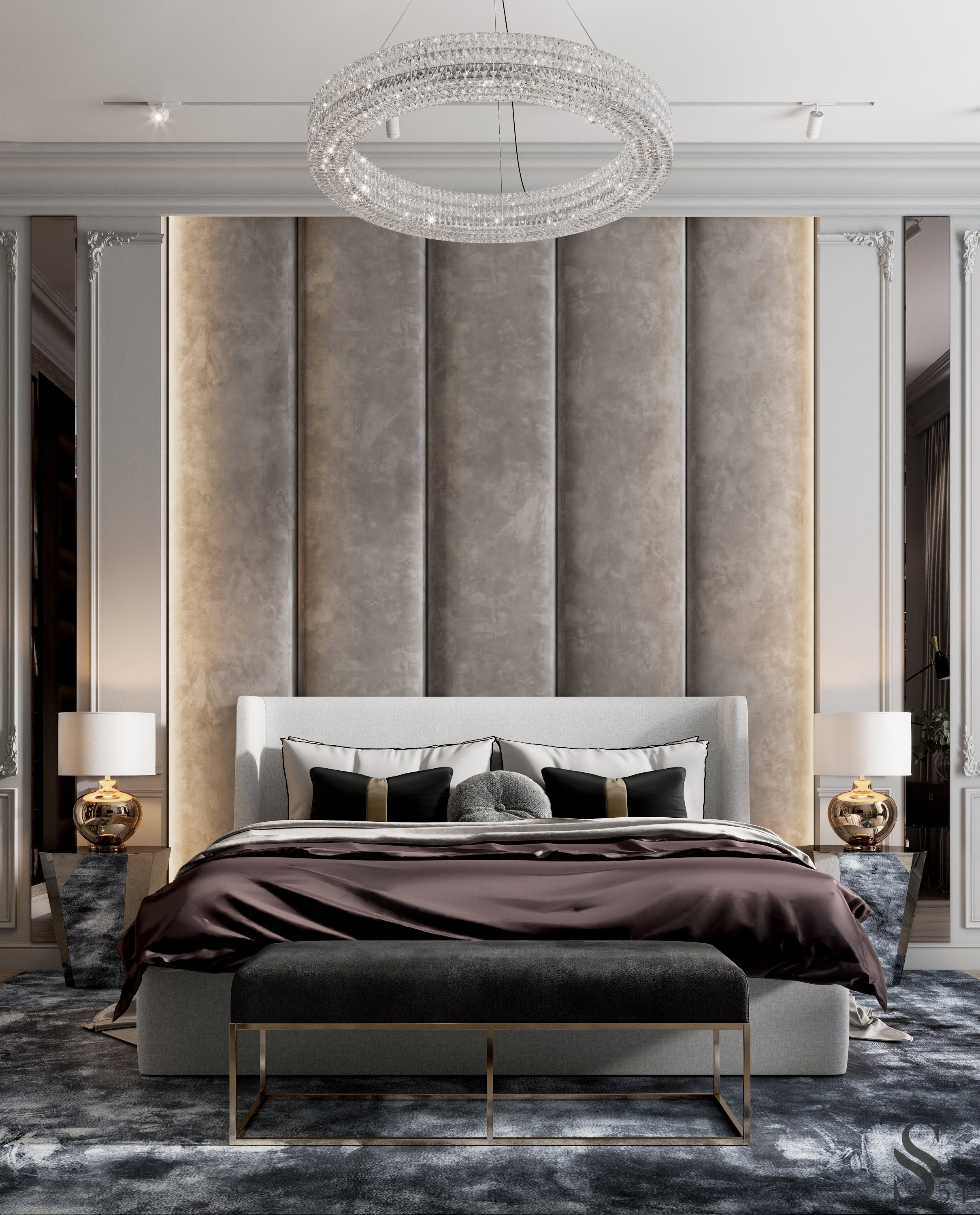 The guest bedroom is more classic. The abundance of custom