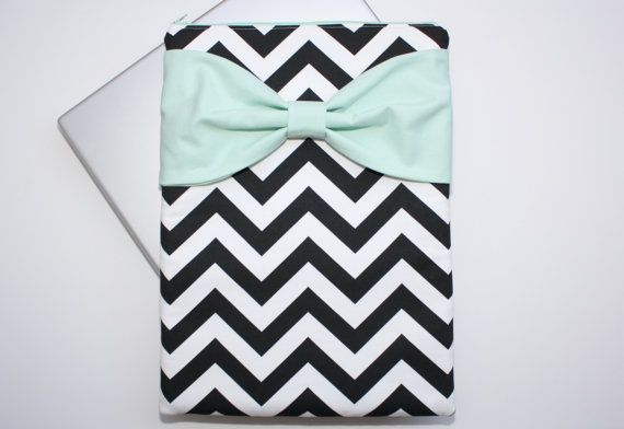 MacBook Pro / Air Case, Laptop Sleeve - Black and White Chevron Mint Bow by AlmquistDesignStudio on Etsy