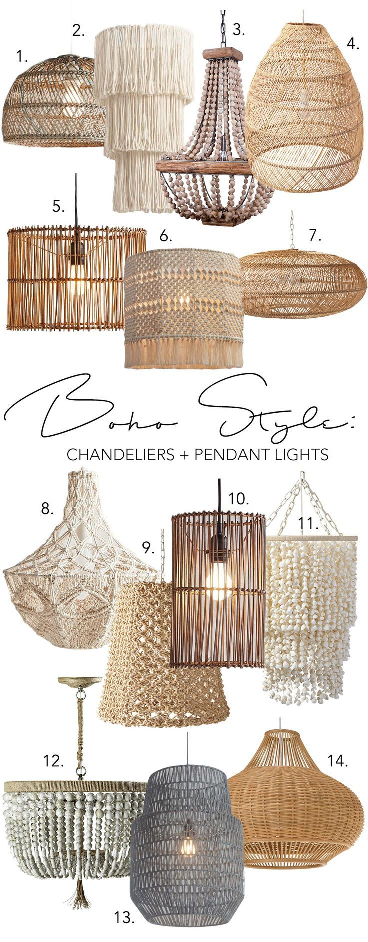 MODERN BOHO CHANDELIERS & PENDANT LIGHTS – 14 CHIC OPTIONS #bohobedroom