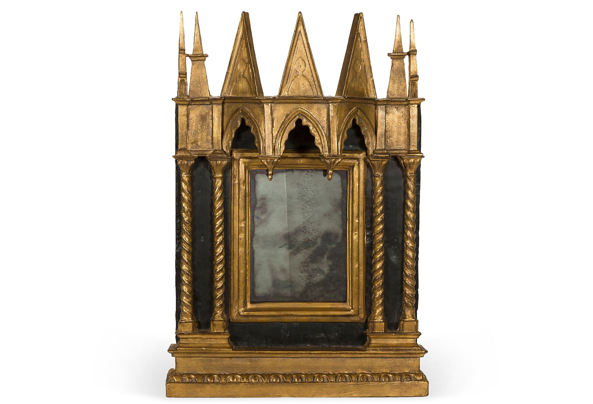 Antique Mirror With Gold Gothic Frame