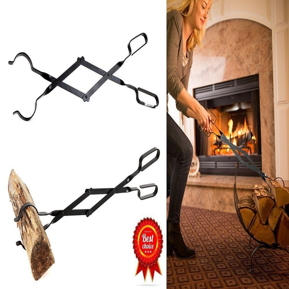 Campfire Tongs Log Grabber 26 Inch Long Firewood Fire Pit Tool Camping Fireplace