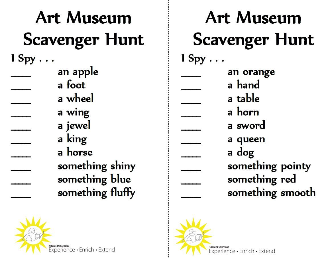 Playing A Game Of I Spy In An Art Museum Might Be The Perfect Solution For A Rainy Day Http Summersolutions Teaching Spelling Art For Kids Scavenger Hunt