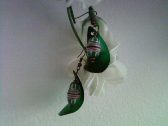 Green Ethnic Inspired Earrings 1572 by tlcorbett on Etsy