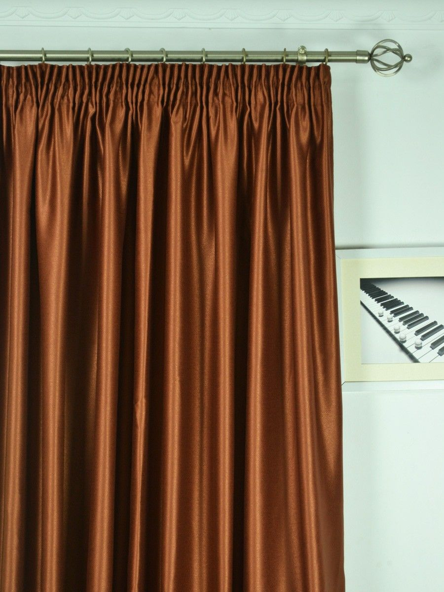 Extra Wide Swan Brown Solid Pencil Pleat Curtains 100 120 Inch