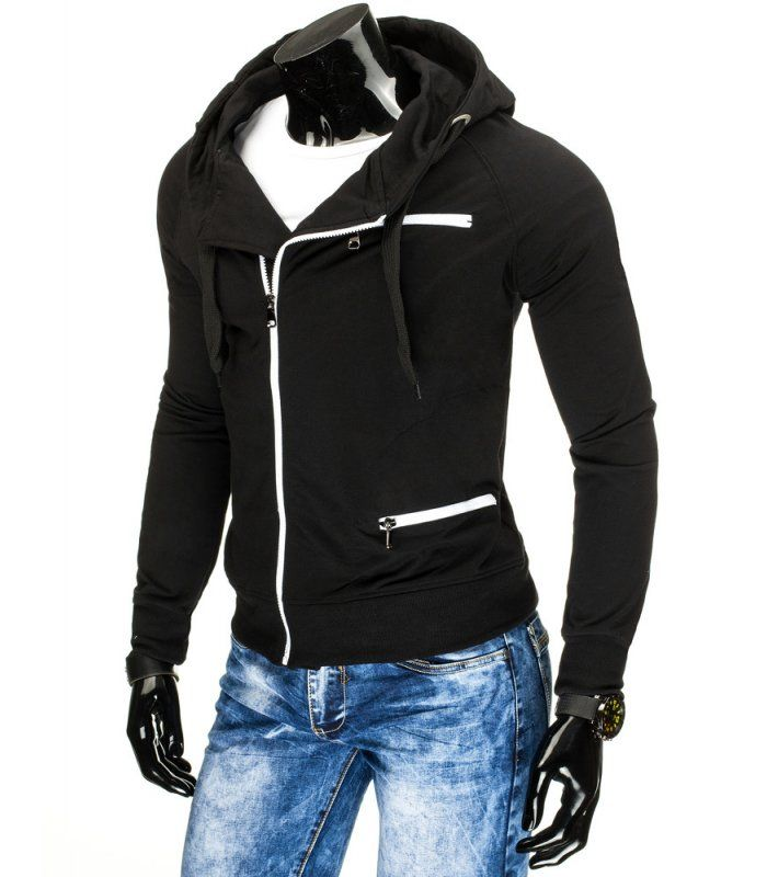 5ae013e2dab7 Pánska čierna mikina s kapucňou na zips