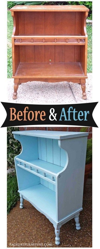 Maple Bookshelf in Distressed Robin's Egg Blue – Before & After,  Maple Bookshelf in Distressed Robin's Egg Blue – Before & After,