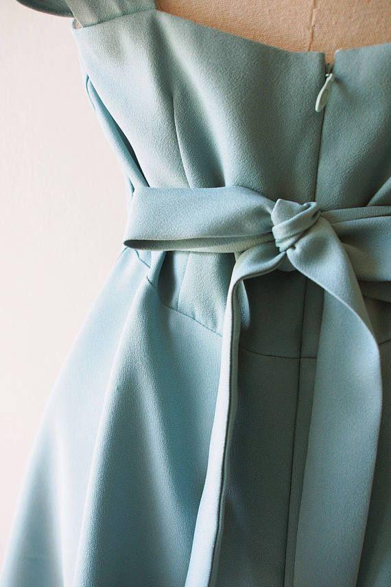 OLIVIA Sage Green Dress Sage Green Party Dress Back Zipper #sagegreendress