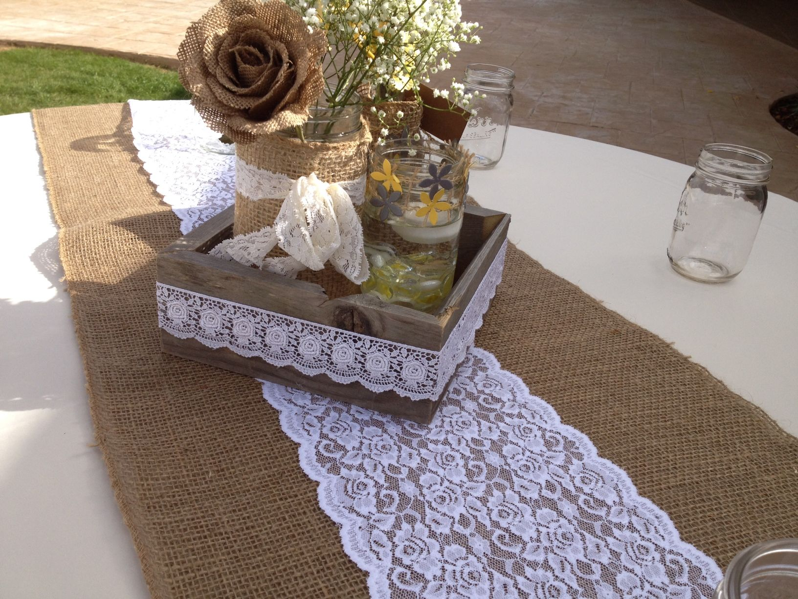 Interesting Burlap Table Runner For Home Decoration Ideas: Stunning Burlap  Table Runner Plus White Lace