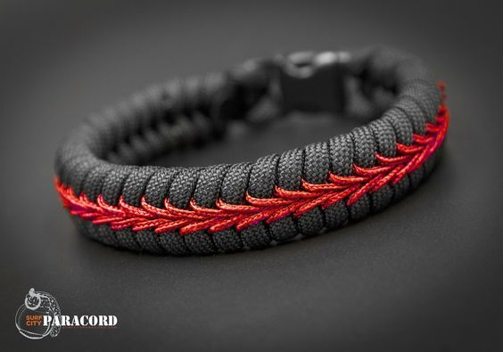 Firefighter Thin Red Line Stitched Fishtail Paracord Bracelet