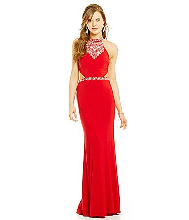 B Darlin High Neck Crystal Illusion Gown #Dillards   The Style of ...