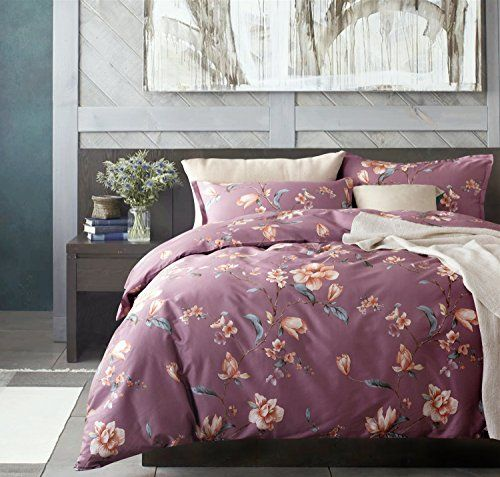 Mauve Lilac Purple Grape And Blush Rose Bedroom Modern Magnolia Watercolor Bedding Duvet Quilt Cover Set By Eikei Bedding Sets Rose Bedroom Quilted Duvet