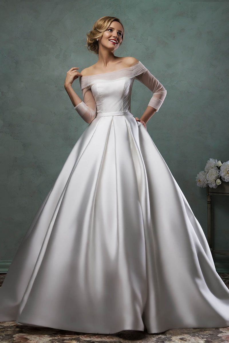Bateau Neck Long Sheer Sleeves Simple Satin Ball Gown Wedding Dress With Images Online Wedding Dress Amelia Sposa Wedding Dress Ball Gowns Wedding
