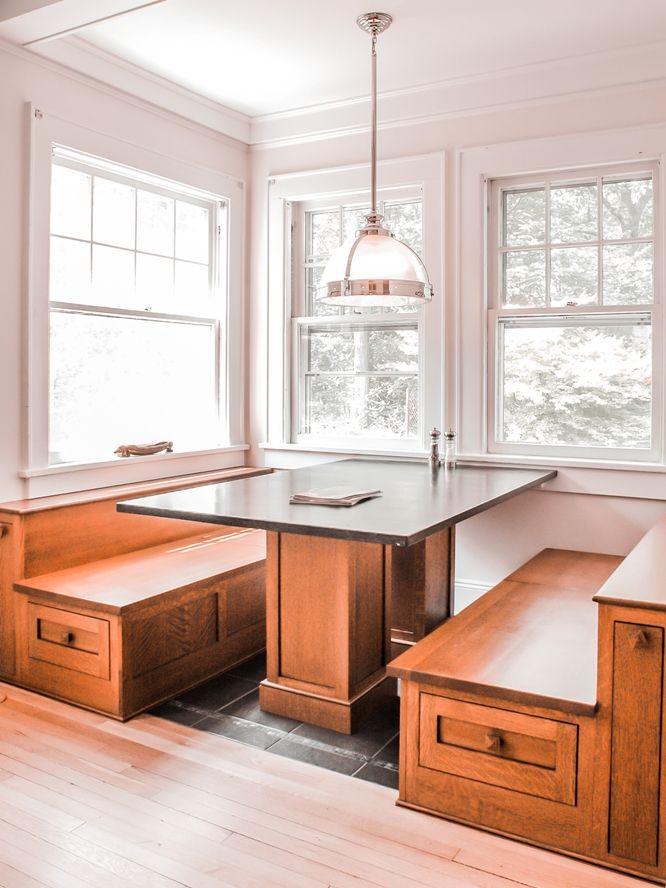 Westchester Custom Design Built Breakfast Nook Craftsman Style Bungalow Kitchen Craftsman Style Kitchen Kitchen Booths