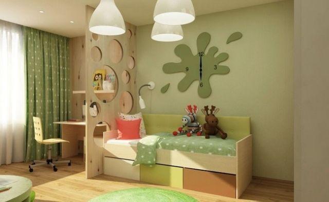 raumteiler kinderzimmer holz kreise geschnitten gr ne. Black Bedroom Furniture Sets. Home Design Ideas