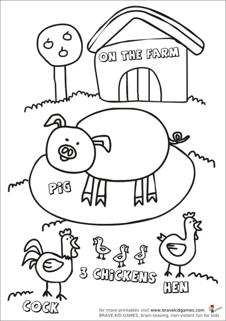 baby-farm-animal-coloring-pages-8 | Places to Visit | Pinterest