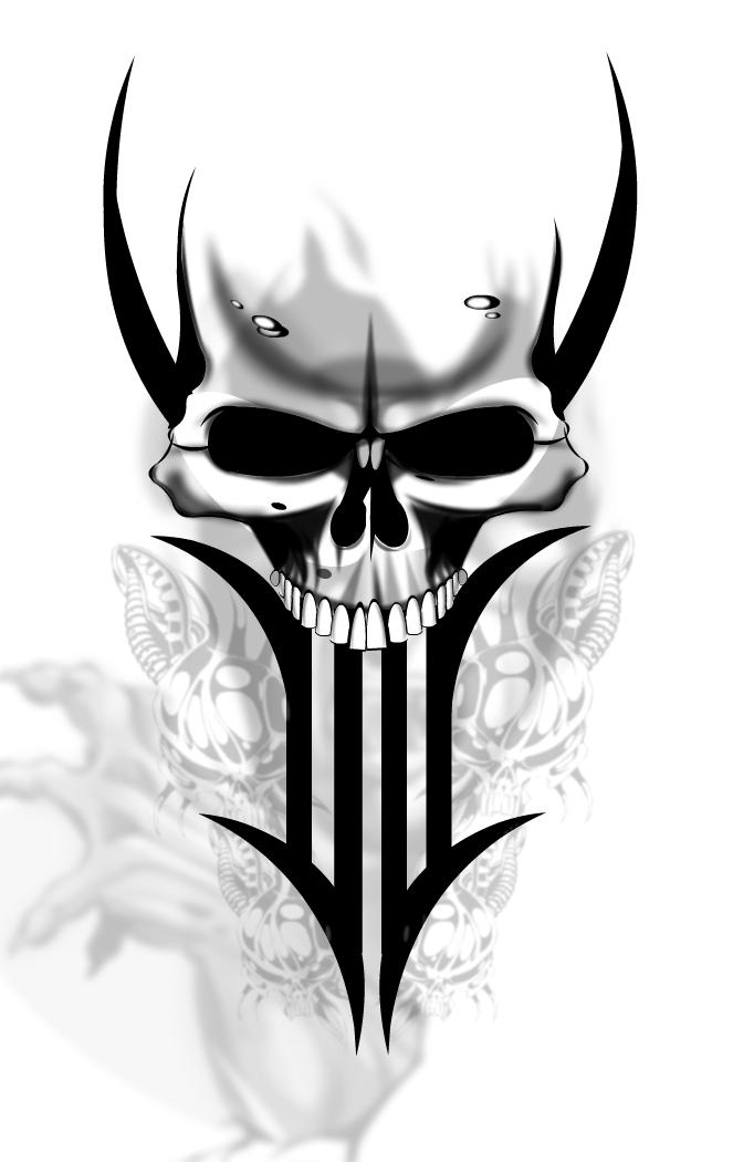 9vnxc9mcn Free Skull Tattoo Designs 2015 7 Png 682 1050 Skull Tattoo Design Tribal Skull Skulls Drawing