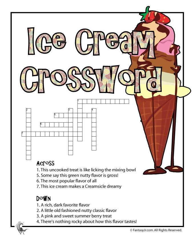 Ice Cream Printable Crossword Puzzle Woo Jr Kids Activities Ice Cream Party Games Puzzles For Kids Printable Crossword Puzzles