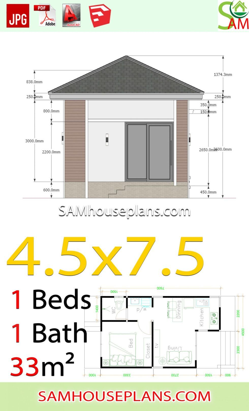 Small House Plans 4 5x7 5 With One Bedroom Hip Roof Sam House Plans In 2020 Small House Plans House Plans Hip Roof
