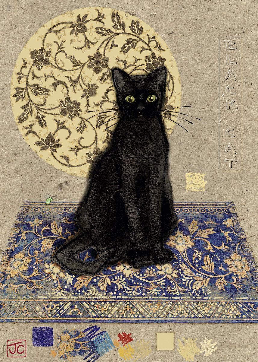 Открытки черные кошки, открытка ангел