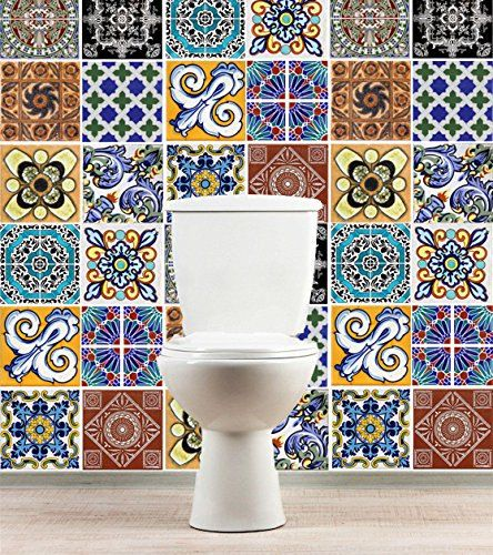 tiles decals style talavera (pack with 12) tile stickers - kitchen