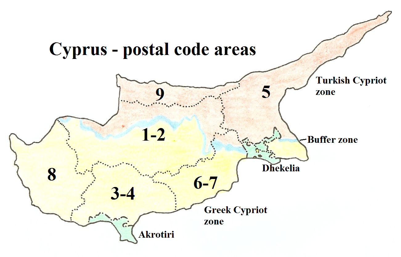 Cyprus Postal Code Areas Sovereign Base Areas of Akrotiri and