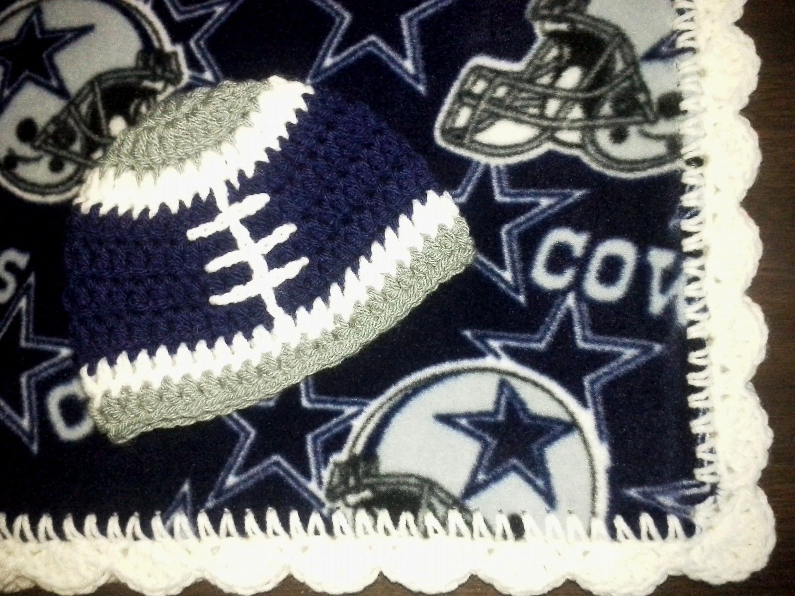 New DALLAS COWBOYS football team fan BLANKET and HAT fleece knit ...