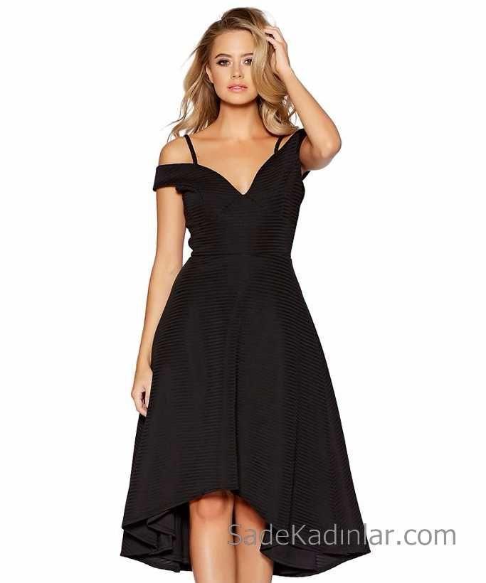 Siyah Gece Elbisesi On Kisa Arka Uzun Straplez Abiye Modelleri Aksamustu Giysileri The Dress Elbise