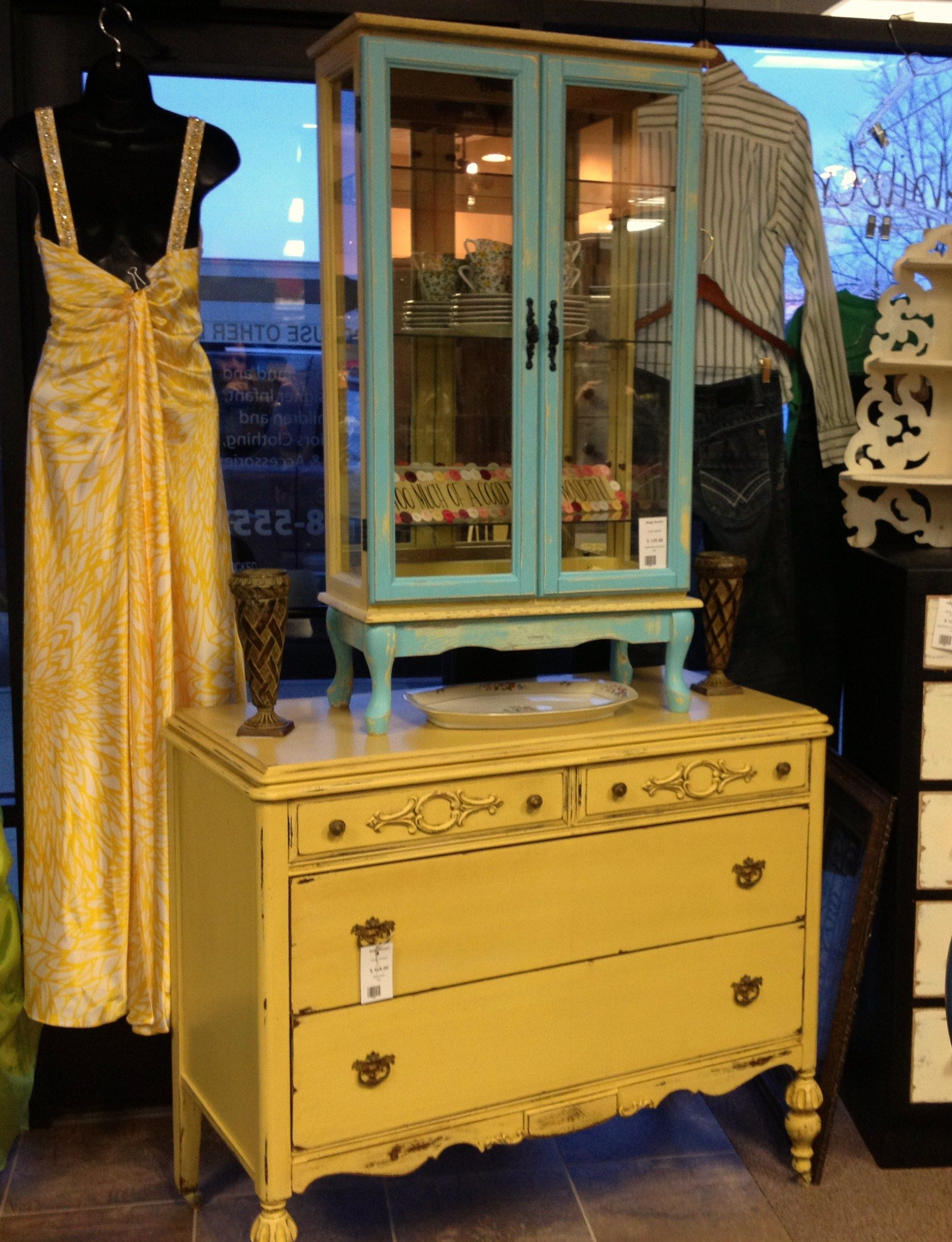 Robin's Egg Blue & Yellow Curio Cabinet. | Antiques ...