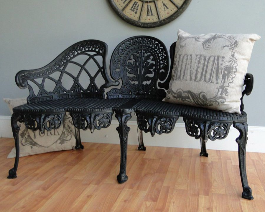 English Garden Bench Furniture Victorian Old Style Cane 640 x 480