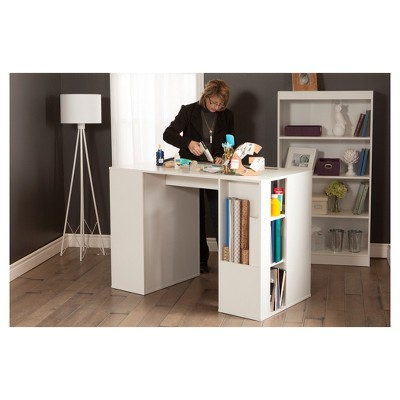 Crea Counter Height Craft Table With Storage Pure White