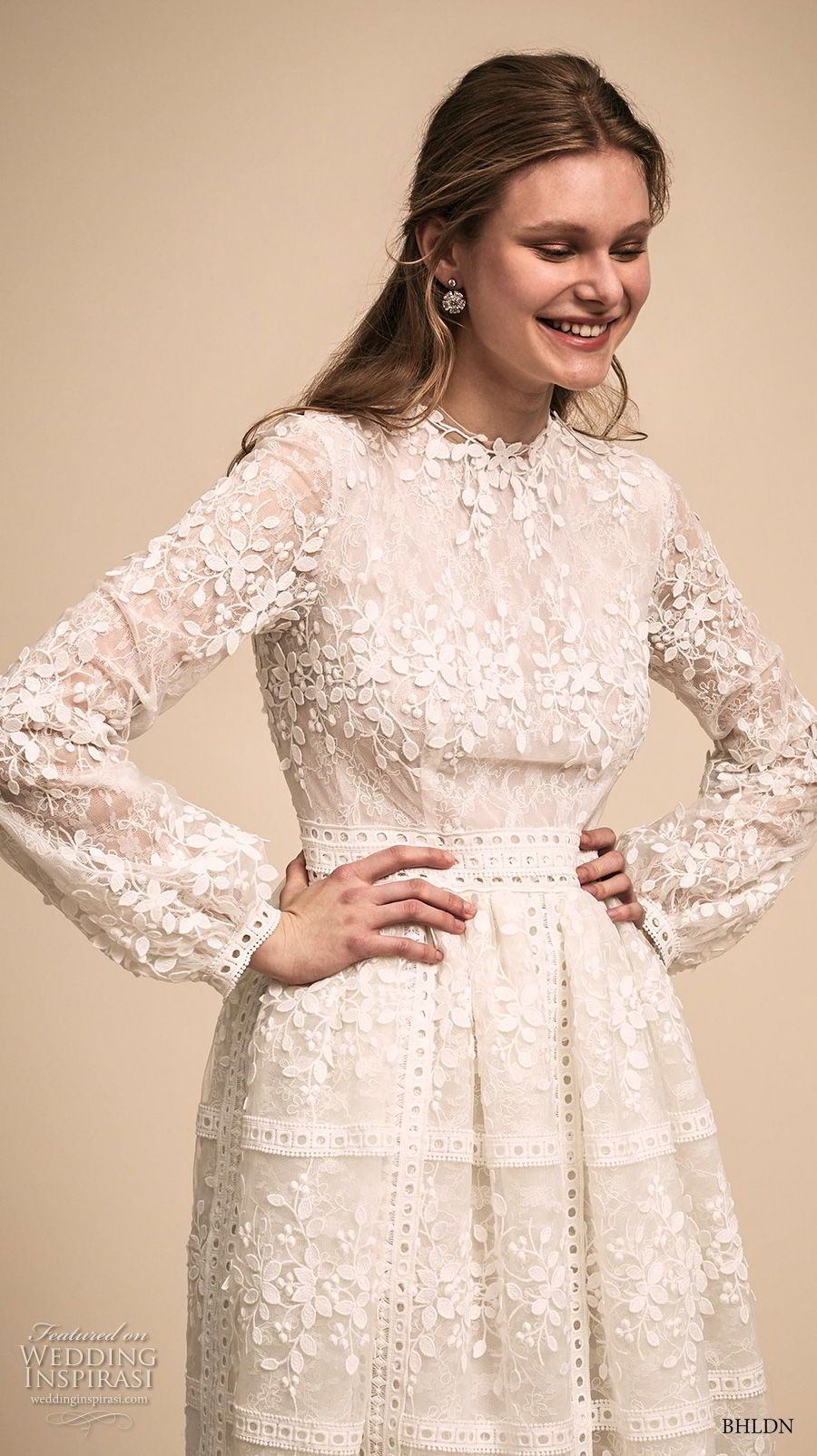 5d2f62a227b bhldn 2018 bridal long bishop sleeves jewel neck full embellishment  romantic modest tea length short wedding dress covered back (6) zv   shortweddingdresses