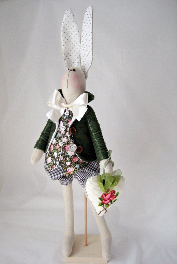 Bunny/ Tilda bunny/ OOAK Bunny/Green rabbit with heart/Bunny doll/ Home decor/ Cottage chic/ Easter Bunny/ Easter decor/