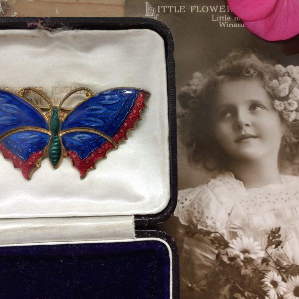 Antique Edwardian Blue Red Enamel Guilloche Large Butterfly Brooch Pin Excellent Condition. Gift