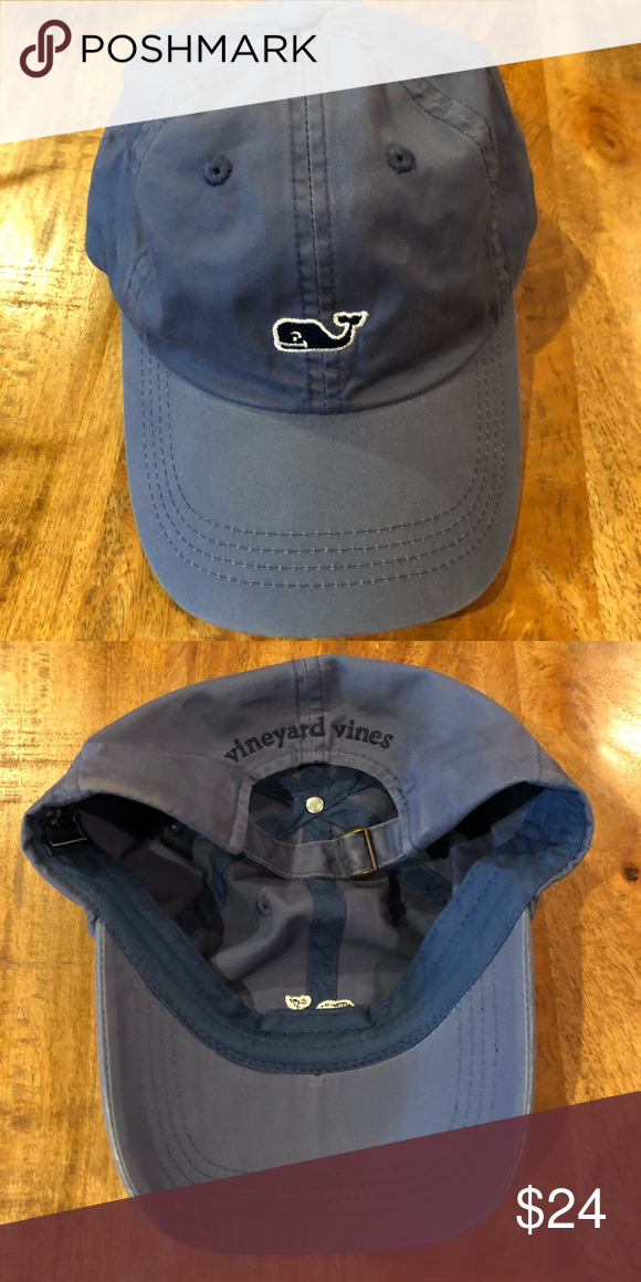 29568625e99 Men s VINEYARD VINES Whale Logo Hat -Slate Blue -Adjustable Strap -Worn  Once -Excellent Condition -Smoke Free Open to reasonable offers Vineyard  Vines ...