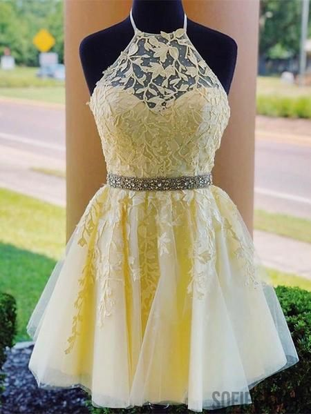 Halter Strapless Appliques Beading Lace-up Back Homecoming Dress, HD0169 Halter Strapless Appliques Beading Lace-up Back Homecoming Dress, HD0169