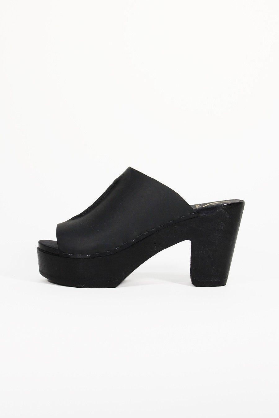 Open Toe Platform Clog in Black on Black Base