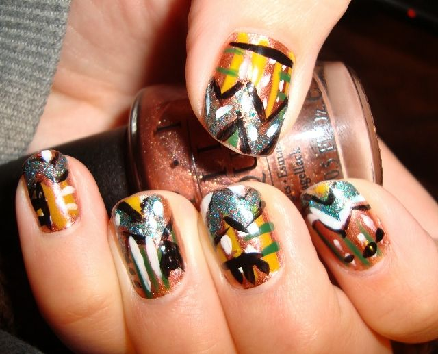 Native American Nails Using Brisbane Bronze From Opi Neon Yellow