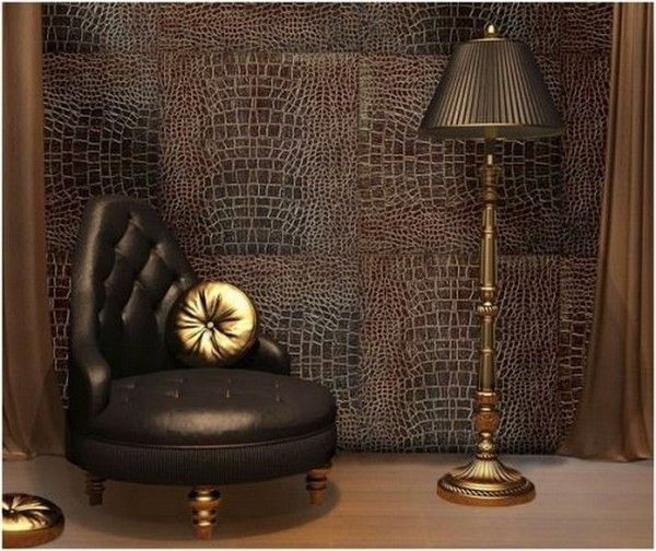 кожаные обои фото | Интерьер, 3d декор стен, Современные стены