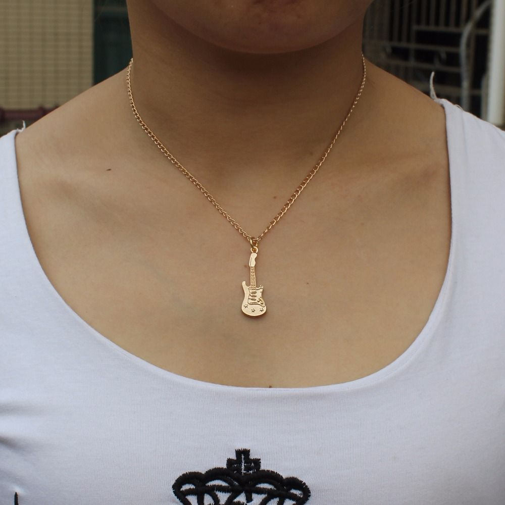 Gold guitar pendant 16 choker short necklace gift for girls kids gold guitar pendant 16 choker short necklace gift for girls kids fashion jewelry mozeypictures Image collections